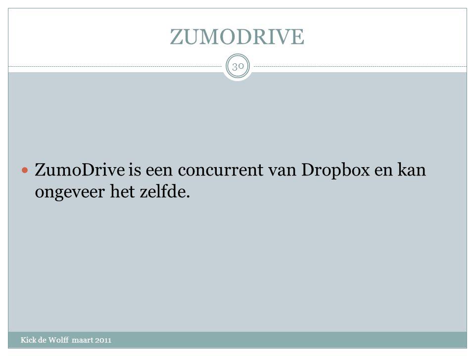 ZUMODRIVE Kick de Wolff maart 2011 ZumoDrive is een concurrent van Dropbox en kan ongeveer het zelfde.