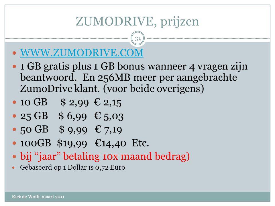 ZUMODRIVE, prijzen Kick de Wolff maart 2011 WWW.ZUMODRIVE.COM 1 GB gratis plus 1 GB bonus wanneer 4 vragen zijn beantwoord.