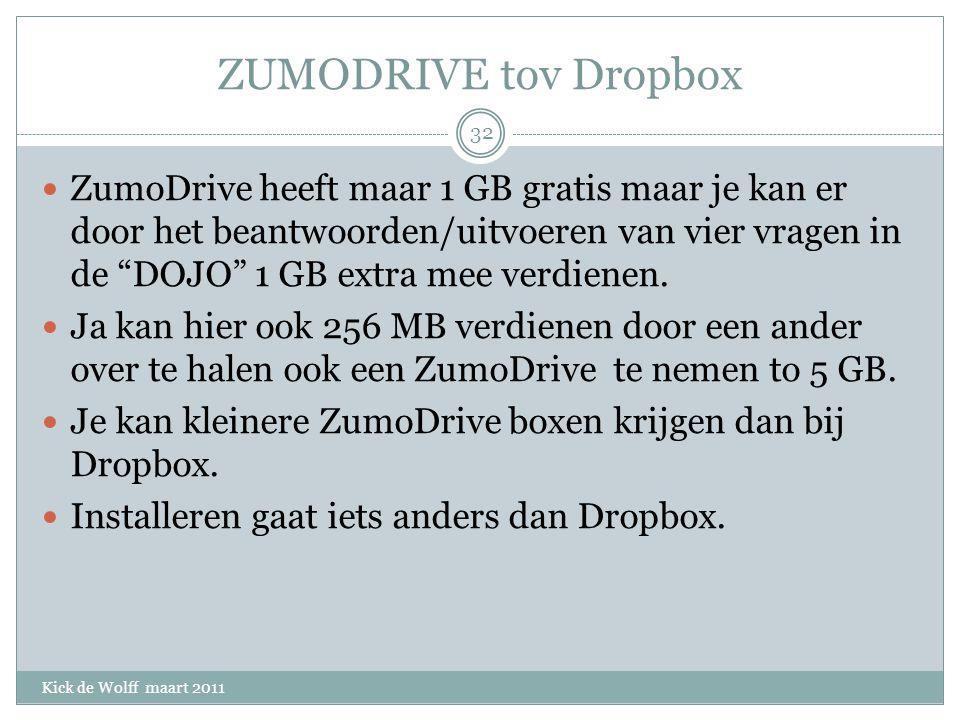 ZUMODRIVE tov Dropbox Kick de Wolff maart 2011 ZumoDrive heeft maar 1 GB gratis maar je kan er door het beantwoorden/uitvoeren van vier vragen in de DOJO 1 GB extra mee verdienen.