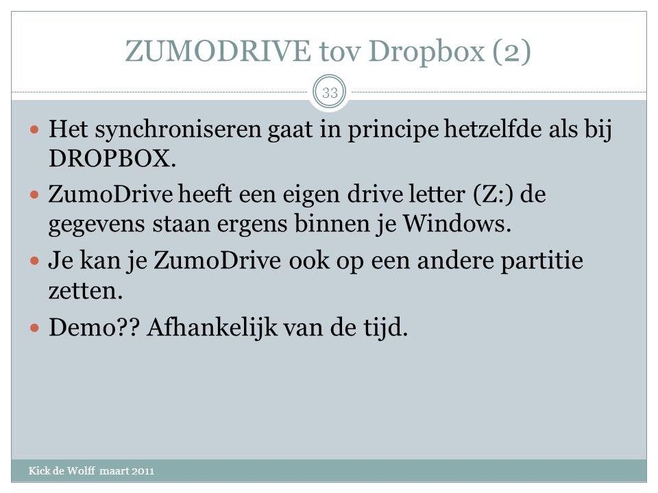 ZUMODRIVE tov Dropbox (2) Kick de Wolff maart 2011 Het synchroniseren gaat in principe hetzelfde als bij DROPBOX.