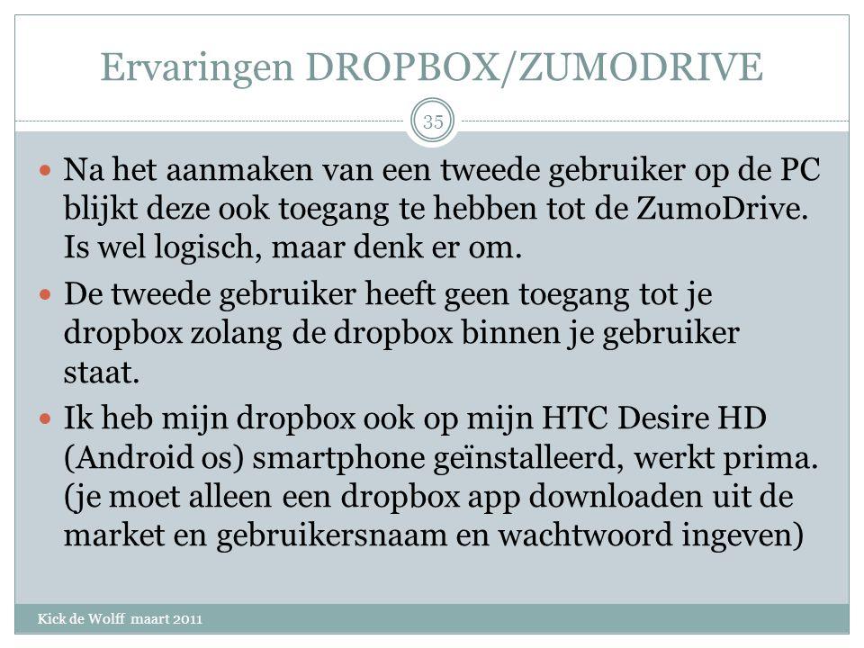 Ervaringen DROPBOX/ZUMODRIVE Kick de Wolff maart 2011 Na het aanmaken van een tweede gebruiker op de PC blijkt deze ook toegang te hebben tot de ZumoDrive.