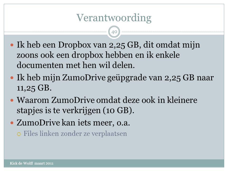 Verantwoording Kick de Wolff maart 2011 Ik heb een Dropbox van 2,25 GB, dit omdat mijn zoons ook een dropbox hebben en ik enkele documenten met hen wil delen.
