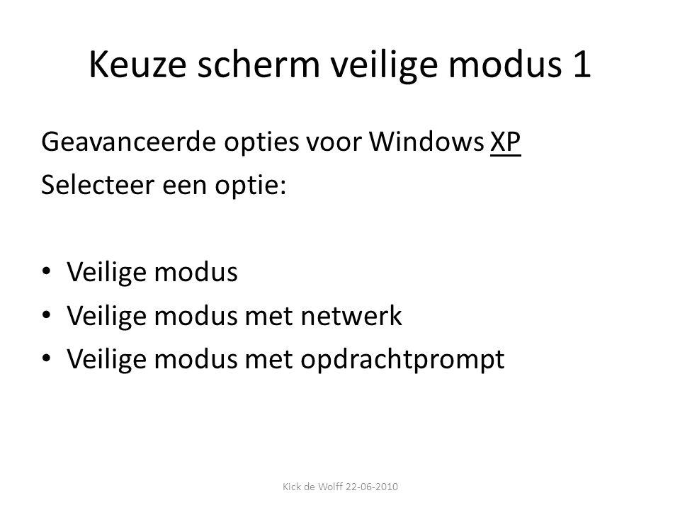Keuze scherm veilige modus 1 Geavanceerde opties voor Windows XP Selecteer een optie: Veilige modus Veilige modus met netwerk Veilige modus met opdrac