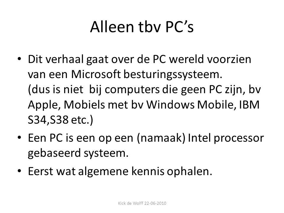 Alleen tbv PC's Dit verhaal gaat over de PC wereld voorzien van een Microsoft besturingssysteem. (dus is niet bij computers die geen PC zijn, bv Apple