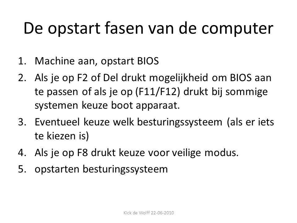 De opstart fasen van de computer 1.Machine aan, opstart BIOS 2.Als je op F2 of Del drukt mogelijkheid om BIOS aan te passen of als je op (F11/F12) dru