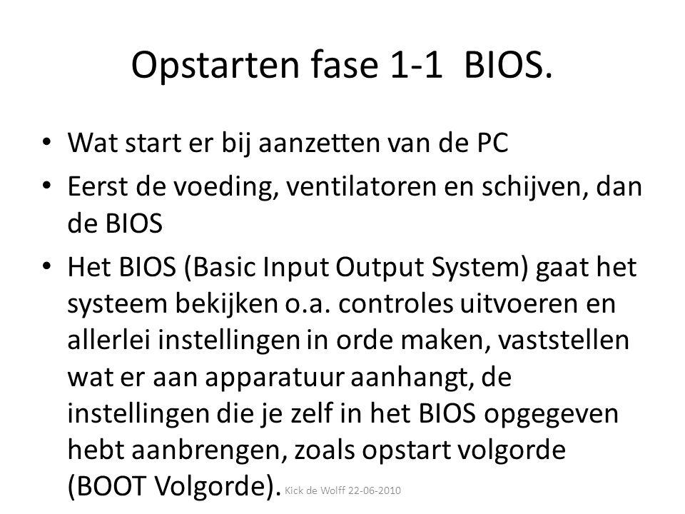 Opstarten fase 1-1 BIOS. Wat start er bij aanzetten van de PC Eerst de voeding, ventilatoren en schijven, dan de BIOS Het BIOS (Basic Input Output Sys