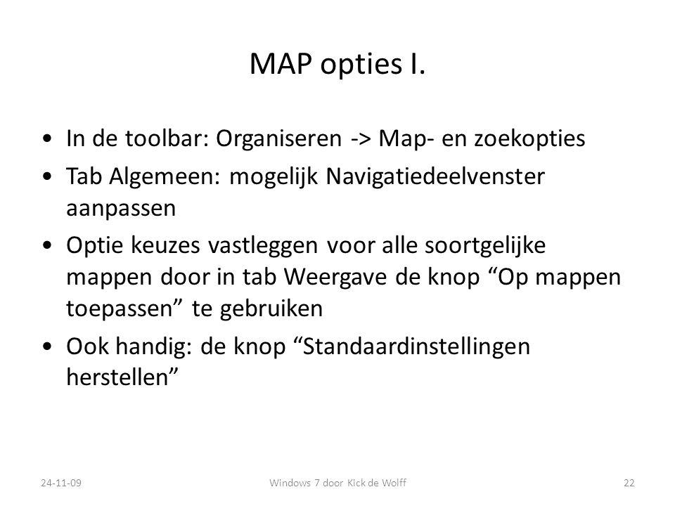 MAP opties I.