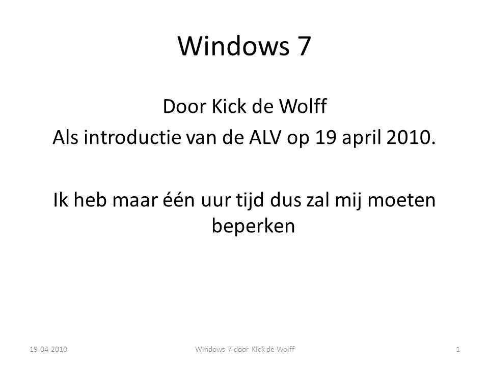 Apparaten en printers Optie bereikbaar via het Start menu Rechtsklik op apparaten om specifieke opties zichtbaar te maken Vinkje bij printers geeft de standaard printer aan Uitroepteken betekent dat er een probleem is 19-04-201032Windows 7 door Kick de Wolff