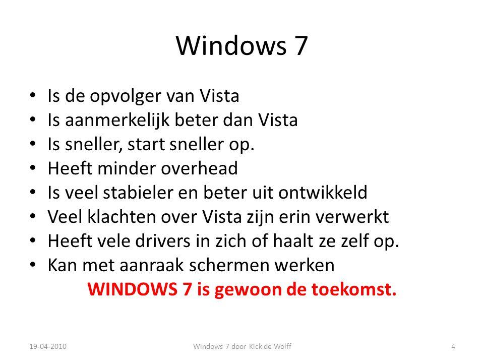 Versies Windows 7 HOME Premium +/- 105.= Professional +/- 140,= Ultimate +/- 190,= Prijzen wijzigen regelmatig Daarnaast is er een starter versie die met een netbook wordt meegeleverd.