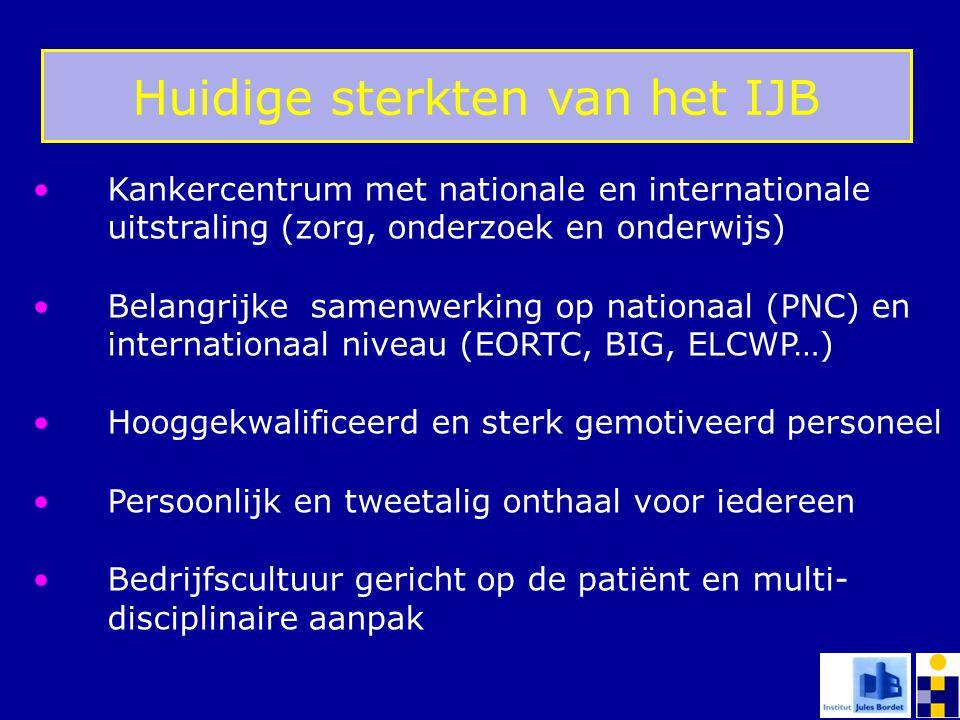 Huidige sterkten van het IJB Kankercentrum met nationale en internationale uitstraling (zorg, onderzoek en onderwijs) Belangrijke samenwerking op nati