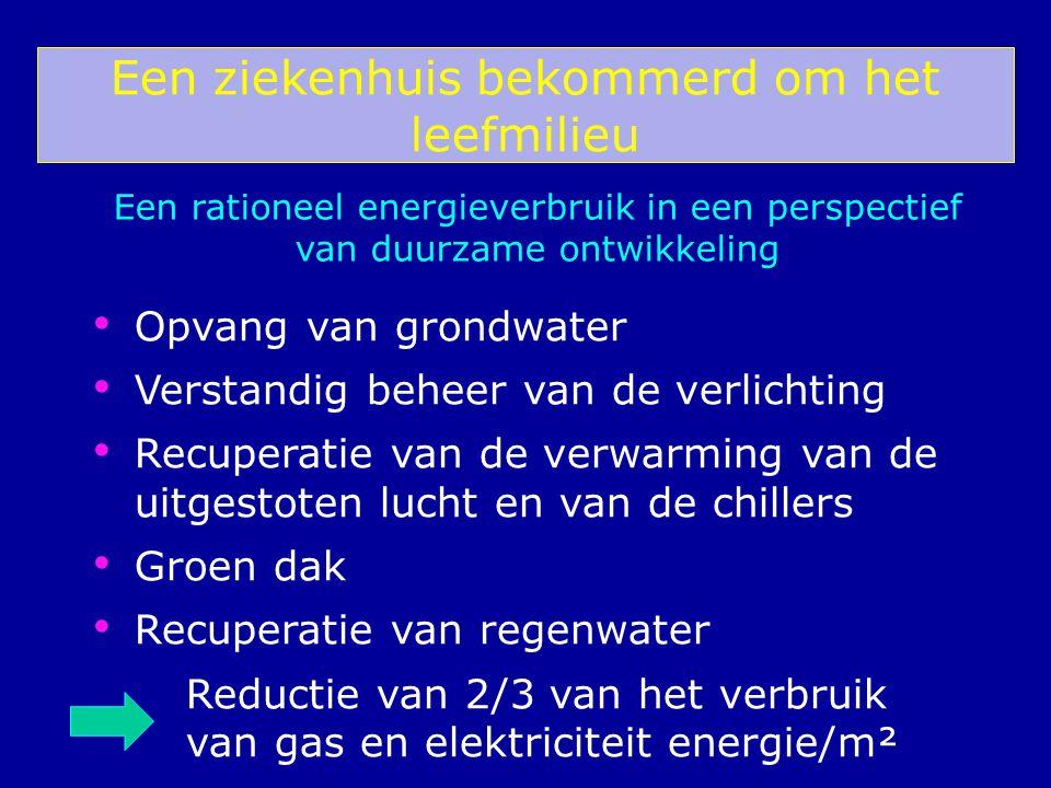 Een ziekenhuis bekommerd om het leefmilieu Opvang van grondwater Verstandig beheer van de verlichting Recuperatie van de verwarming van de uitgestoten