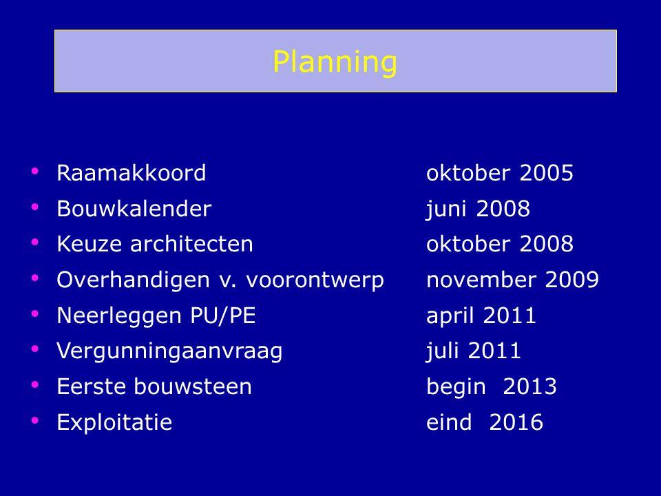Raamakkoord oktober 2005 Bouwkalenderjuni 2008 Keuze architecten oktober 2008 Overhandigen v. voorontwerp november 2009 Neerleggen PU/PE april 2011 Ve