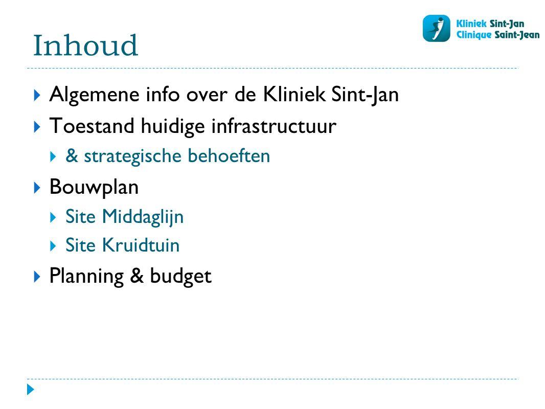 Inhoud  Algemene info over de Kliniek Sint-Jan  Toestand huidige infrastructuur  & strategische behoeften  Bouwplan  Site Middaglijn  Site Kruidtuin  Planning & budget