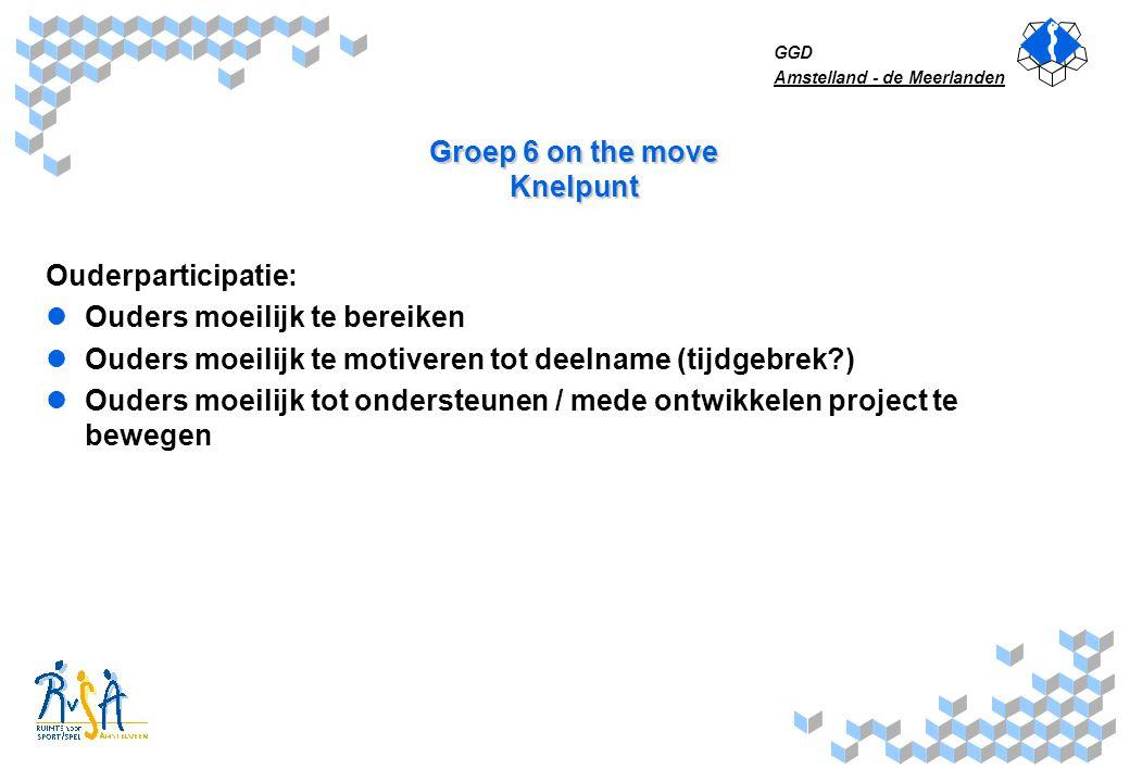 GGD Amstelland - de Meerlanden Groep 6 on the move Knelpunt Ouderparticipatie: Ouders moeilijk te bereiken Ouders moeilijk te motiveren tot deelname (