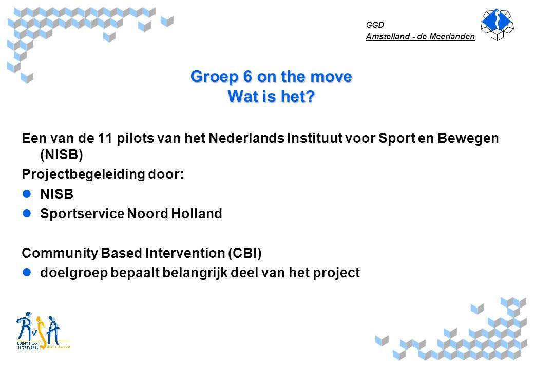 GGD Amstelland - de Meerlanden Groep 6 on the move Wat is het? Een van de 11 pilots van het Nederlands Instituut voor Sport en Bewegen (NISB) Projectb