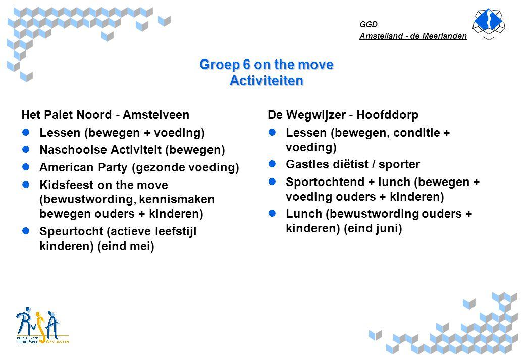 GGD Amstelland - de Meerlanden Groep 6 on the move Activiteiten Het Palet Noord - Amstelveen Lessen (bewegen + voeding) Naschoolse Activiteit (bewegen