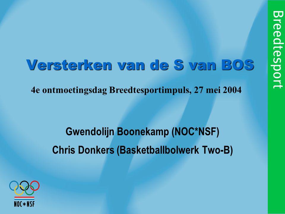 Versterken van de S van BOS Gwendolijn Boonekamp (NOC*NSF) Chris Donkers (Basketballbolwerk Two-B) 4e ontmoetingsdag Breedtesportimpuls, 27 mei 2004