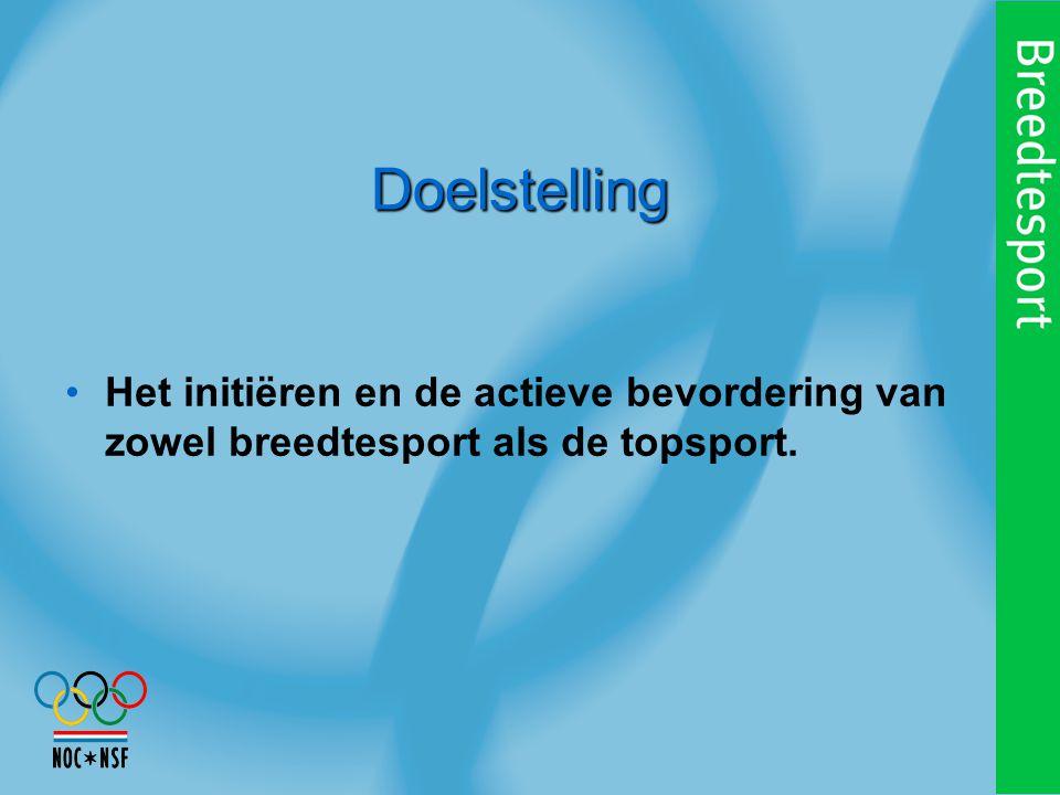 Doelstelling Het initiëren en de actieve bevordering van zowel breedtesport als de topsport.