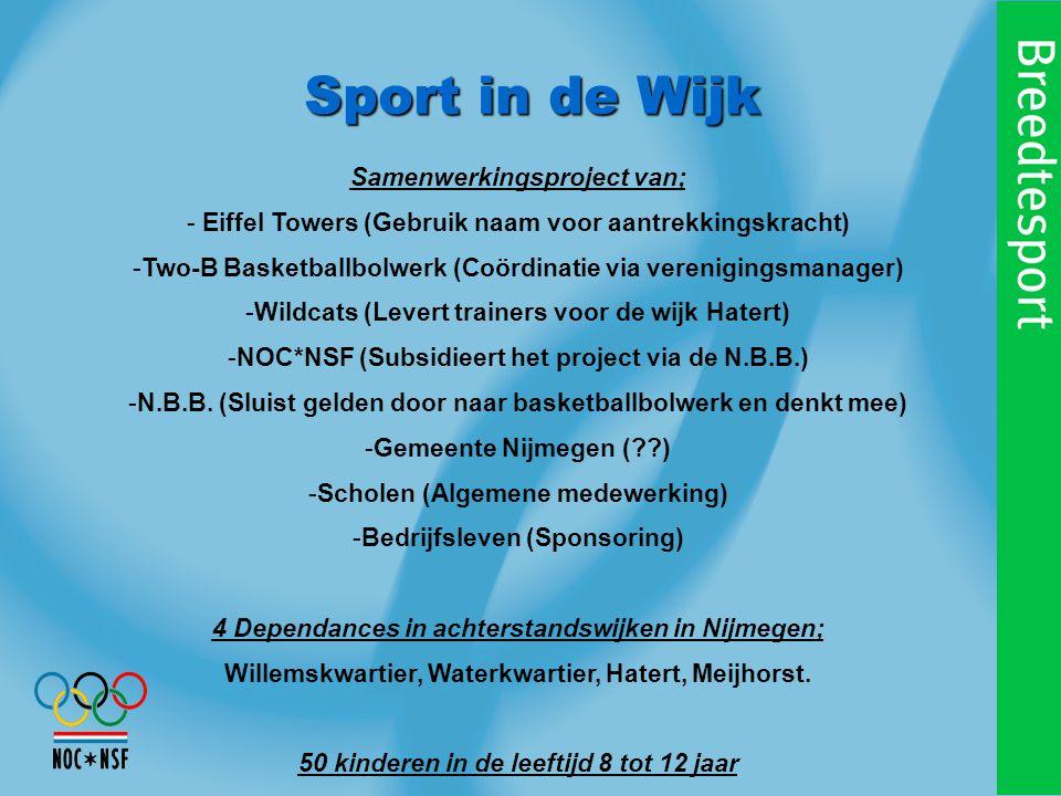 Sport in de Wijk Samenwerkingsproject van; - Eiffel Towers (Gebruik naam voor aantrekkingskracht) -Two-B Basketballbolwerk (Coördinatie via verenigingsmanager) -Wildcats (Levert trainers voor de wijk Hatert) -NOC*NSF (Subsidieert het project via de N.B.B.) -N.B.B.