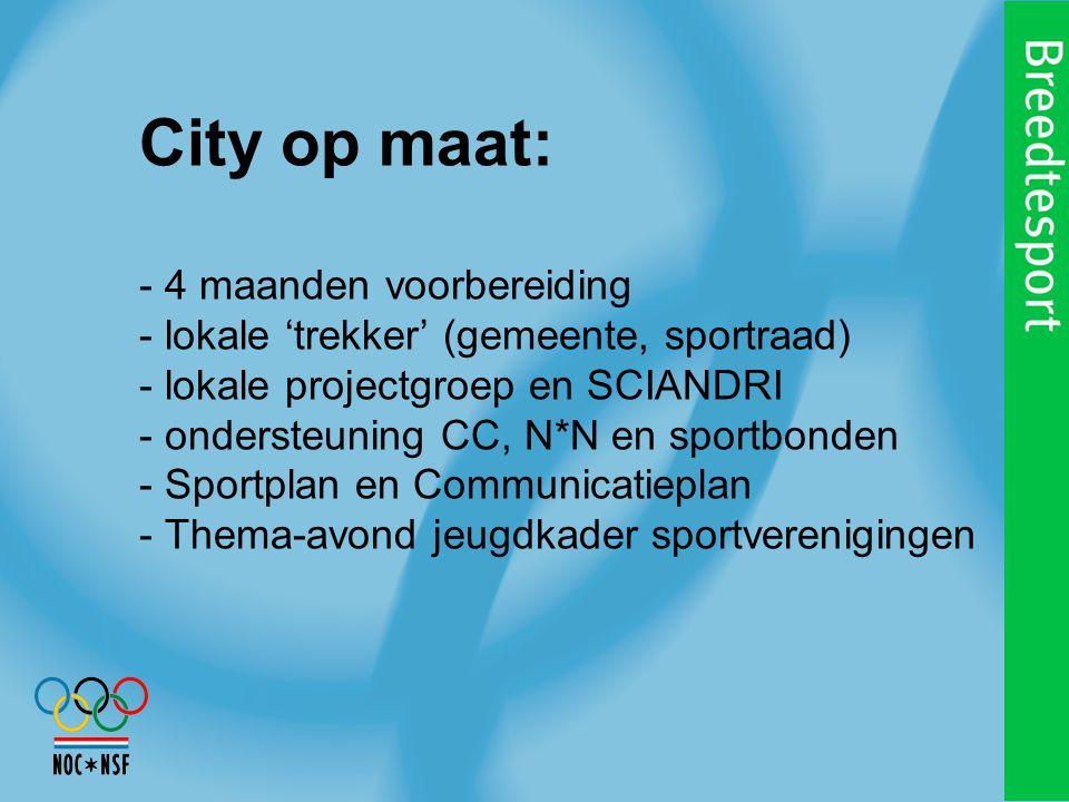 City op maat: - 4 maanden voorbereiding - lokale 'trekker' (gemeente, sportraad) - lokale projectgroep en SCIANDRI - ondersteuning CC, N*N en sportbonden - Sportplan en Communicatieplan - Thema-avond jeugdkader sportverenigingen