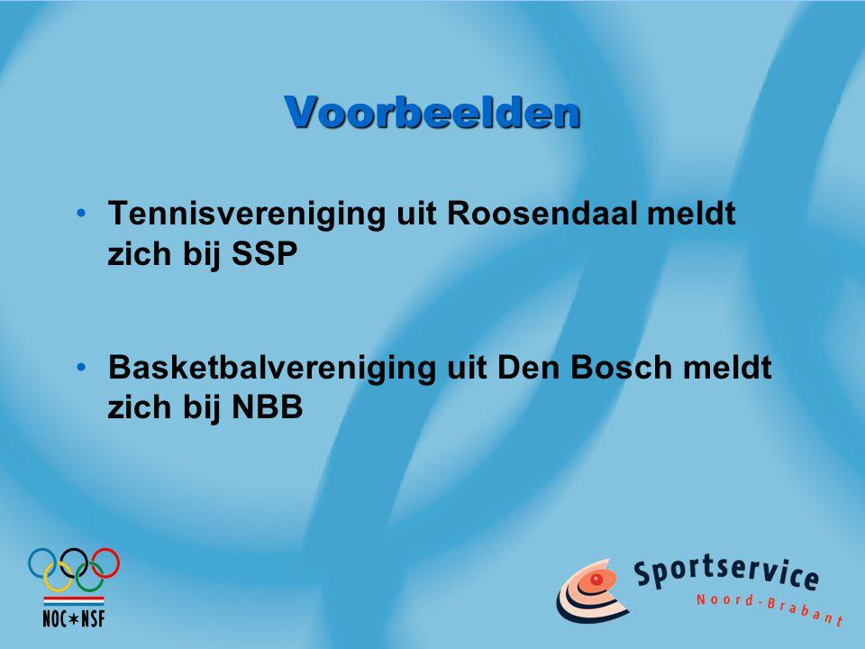 Voorbeelden Tennisvereniging uit Roosendaal meldt zich bij SSP Basketbalvereniging uit Den Bosch meldt zich bij NBB