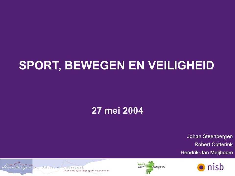 SPORT, BEWEGEN EN VEILIGHEID Inhoud workshop  Welkom en kennismaking  Doel workshop  Column Johan Steenbergen  Veiligheidsbeleid  Breedtesport in relatie tot veiligheid  Vragen en werkactiviteit