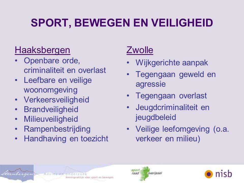 SPORT, BEWEGEN EN VEILIGHEID Waar is sport en bewegen / BSI inzetbaar.
