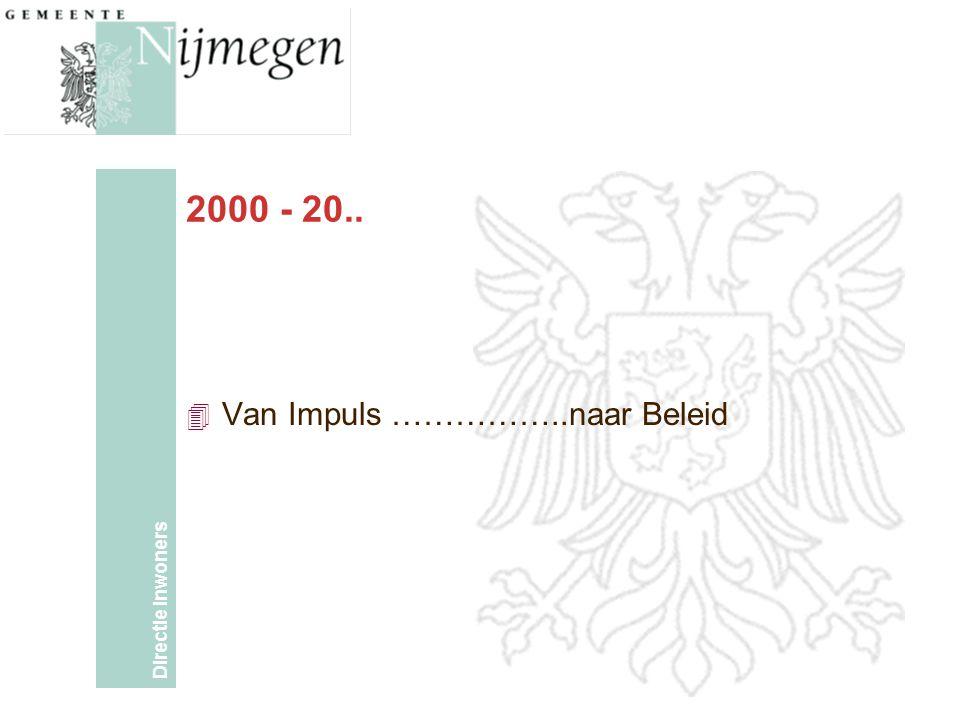 Directie Inwoners 2000 - 20.. 4 Van Impuls ……………..naar Beleid