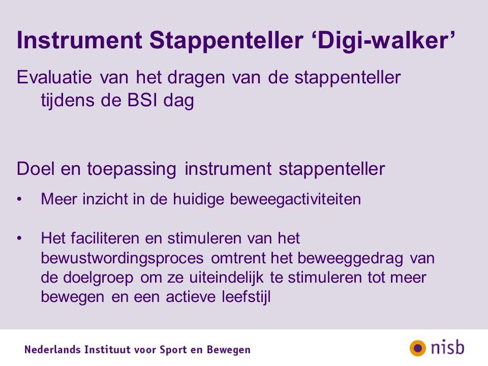 Instrument Stappenteller 'Digi-walker' Evaluatie van het dragen van de stappenteller tijdens de BSI dag Doel en toepassing instrument stappenteller Meer inzicht in de huidige beweegactiviteiten Het faciliteren en stimuleren van het bewustwordingsproces omtrent het beweeggedrag van de doelgroep om ze uiteindelijk te stimuleren tot meer bewegen en een actieve leefstijl