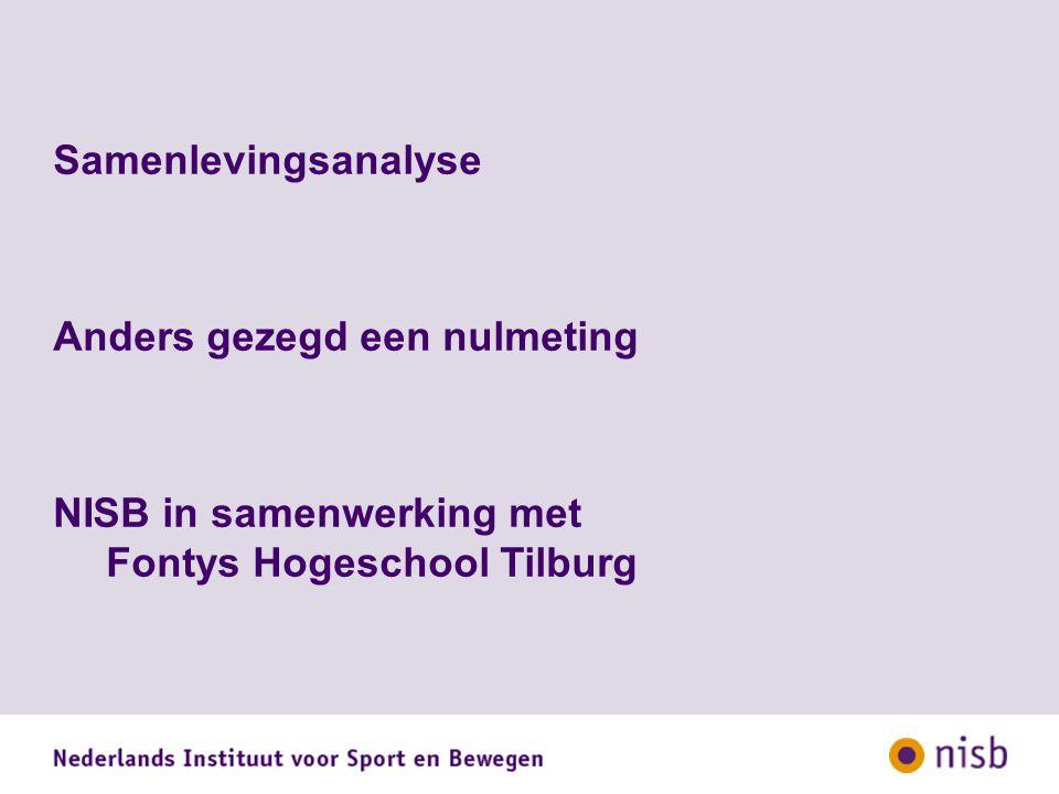 Samenlevingsanalyse Anders gezegd een nulmeting NISB in samenwerking met Fontys Hogeschool Tilburg