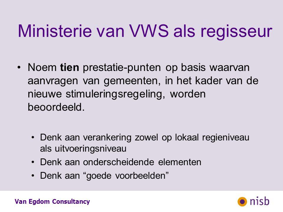 Van Egdom Consultancy Ministerie van VWS als regisseur Noem tien prestatie-punten op basis waarvan aanvragen van gemeenten, in het kader van de nieuwe stimuleringsregeling, worden beoordeeld.