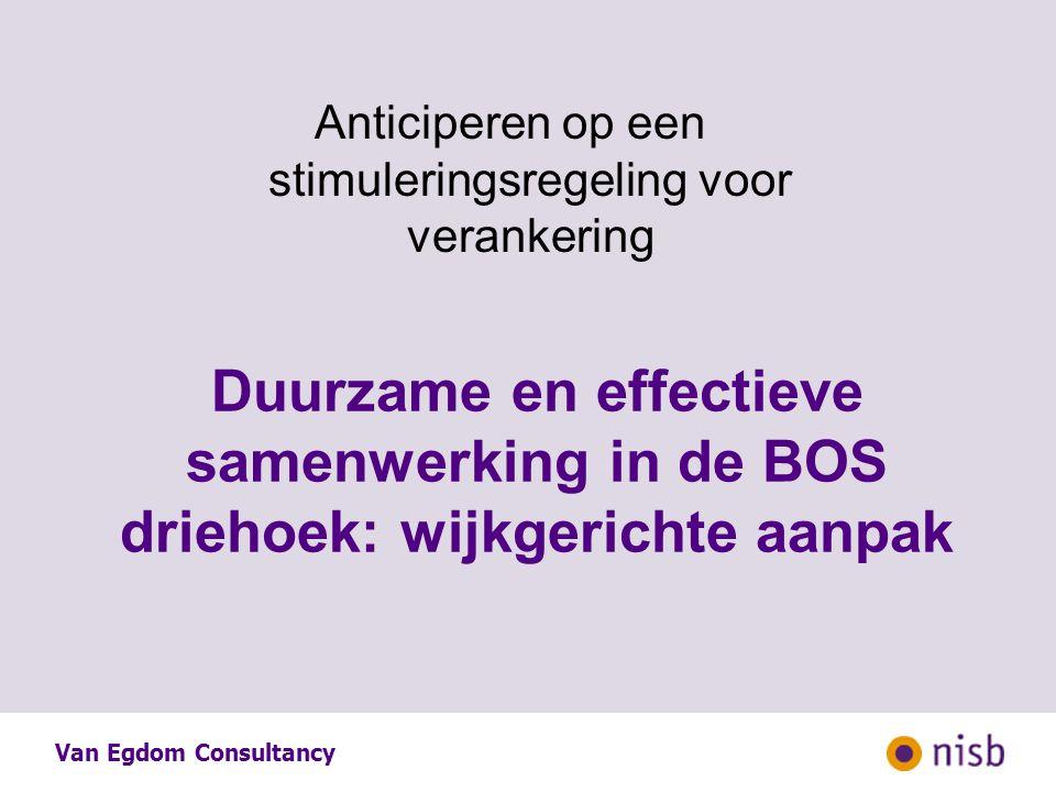 Anticiperen op een stimuleringsregeling voor verankering Duurzame en effectieve samenwerking in de BOS driehoek: wijkgerichte aanpak Van Egdom Consultancy