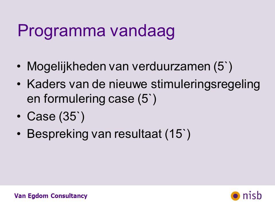 Programma vandaag Mogelijkheden van verduurzamen (5`) Kaders van de nieuwe stimuleringsregeling en formulering case (5`) Case (35`) Bespreking van resultaat (15`)