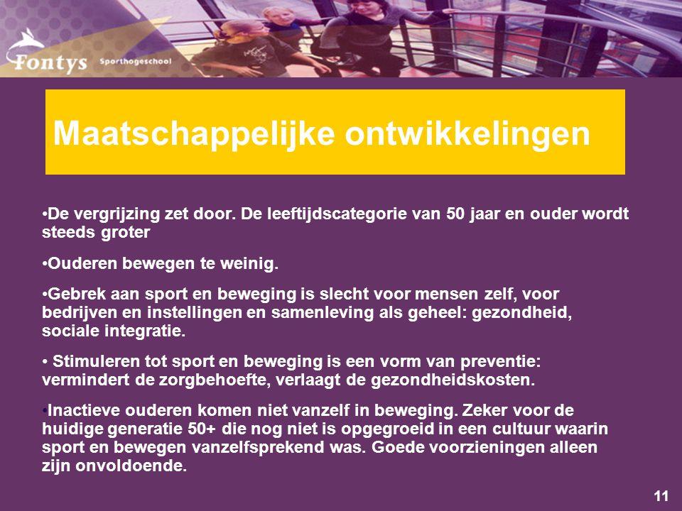 11 Maatschappelijke ontwikkelingen De vergrijzing zet door.