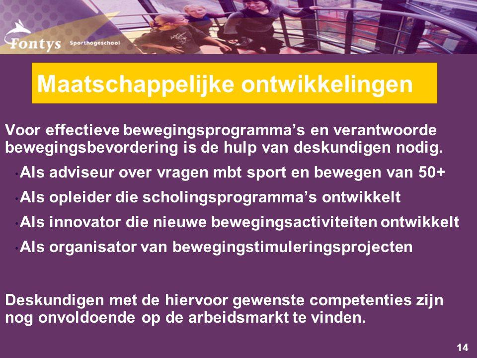 14 Maatschappelijke ontwikkelingen Voor effectieve bewegingsprogramma's en verantwoorde bewegingsbevordering is de hulp van deskundigen nodig.