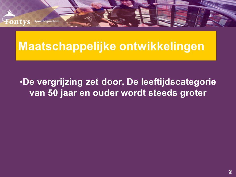 2 Maatschappelijke ontwikkelingen De vergrijzing zet door.