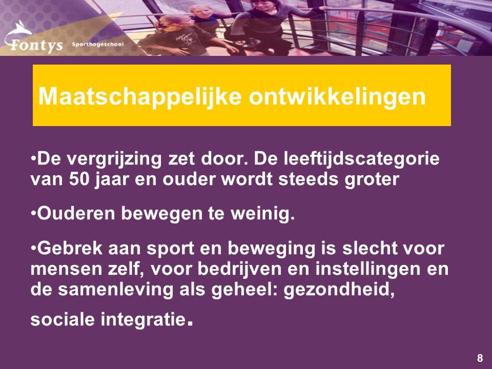 9 Maatschappelijke ontwikkelingen De vergrijzing zet door.