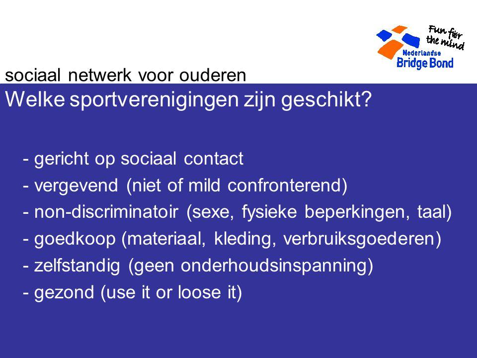 sociaal netwerk voor ouderen Welke sportverenigingen zijn geschikt.