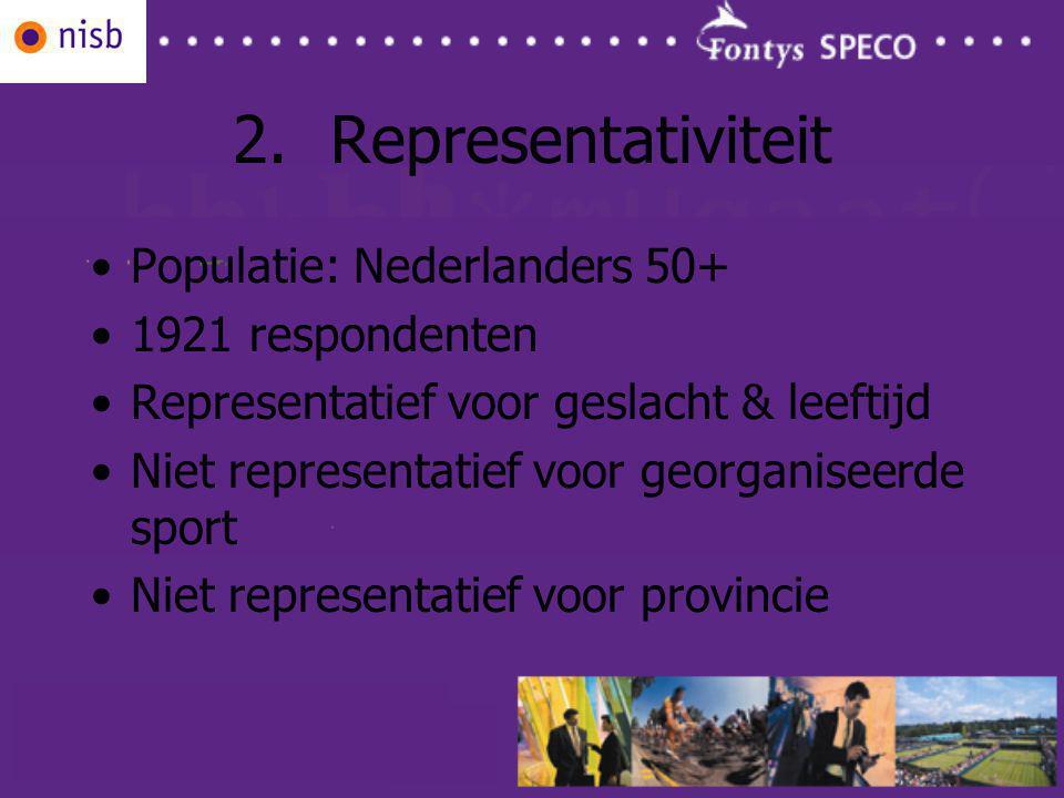 2.Representativiteit Populatie: Nederlanders 50+ 1921 respondenten Representatief voor geslacht & leeftijd Niet representatief voor georganiseerde sport Niet representatief voor provincie