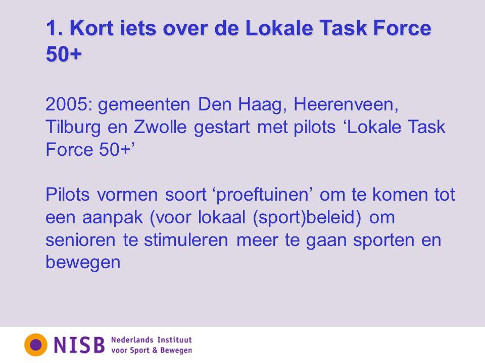 1. Kort iets over de Lokale Task Force 50+ 2005: gemeenten Den Haag, Heerenveen, Tilburg en Zwolle gestart met pilots 'Lokale Task Force 50+' Pilots v