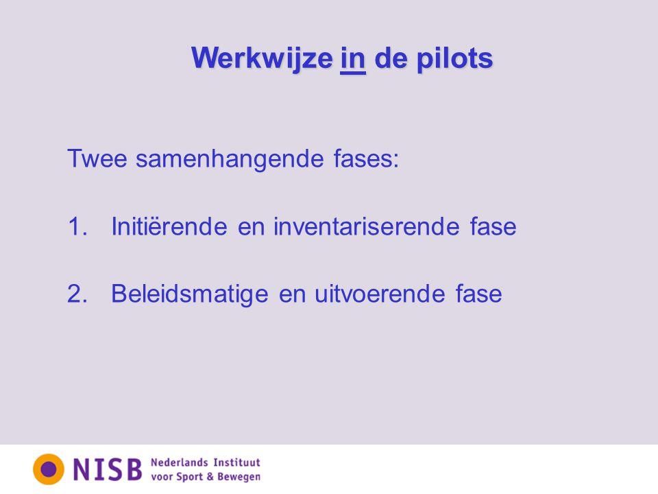 Twee samenhangende fases: 1. Initiërende en inventariserende fase 2.Beleidsmatige en uitvoerende fase Werkwijze in de pilots