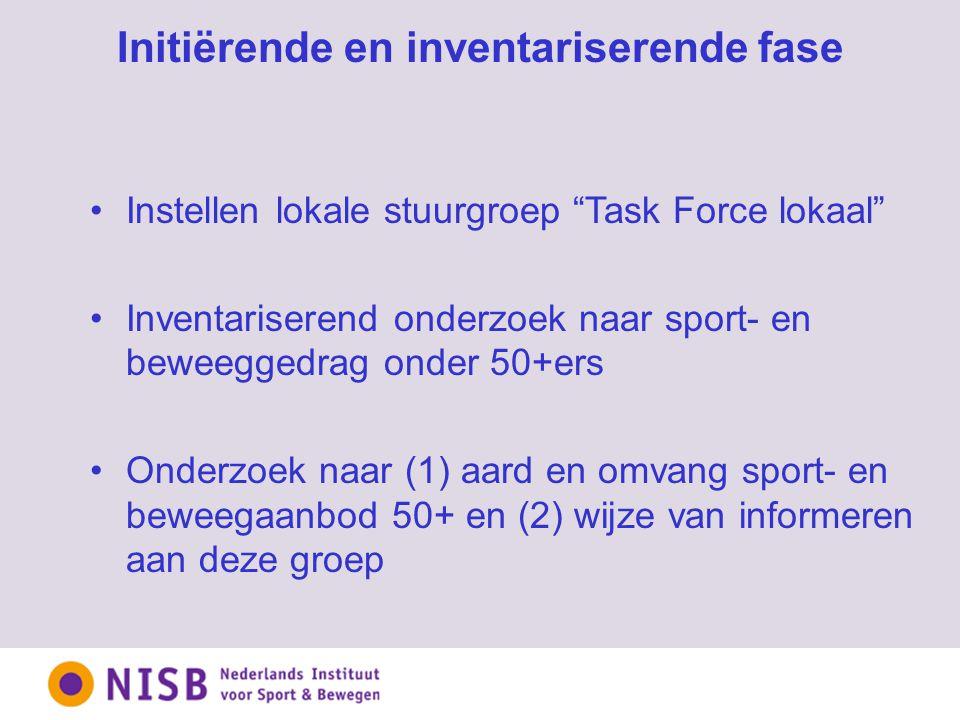 Initiërende en inventariserende fase Instellen lokale stuurgroep Task Force lokaal Inventariserend onderzoek naar sport- en beweeggedrag onder 50+ers Onderzoek naar (1) aard en omvang sport- en beweegaanbod 50+ en (2) wijze van informeren aan deze groep