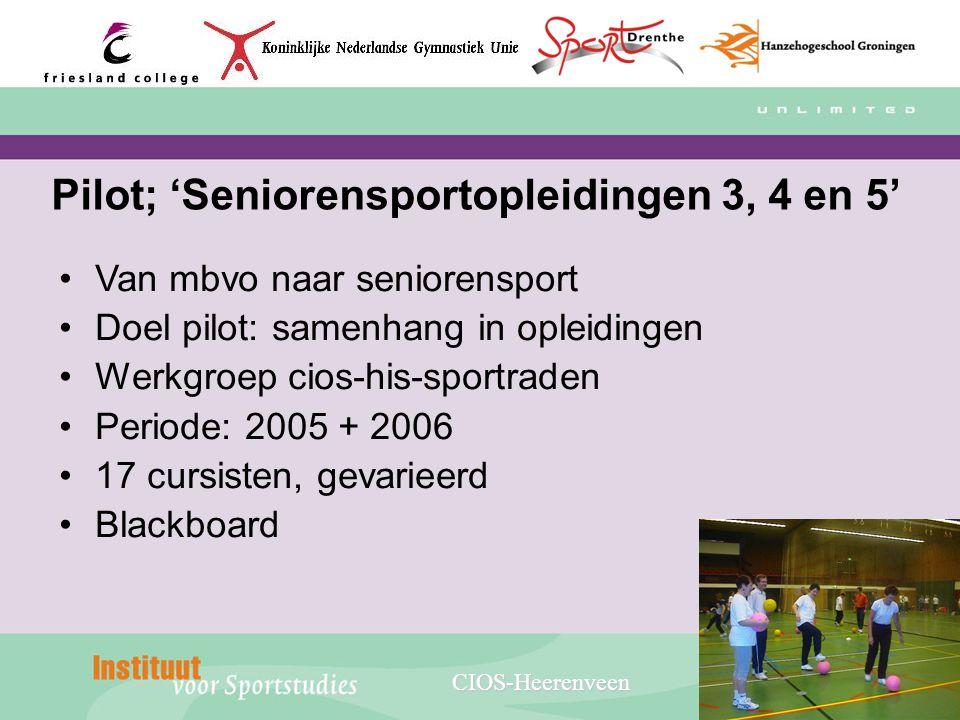 Pilot; 'Seniorensportopleidingen 3, 4 en 5' Van mbvo naar seniorensport Doel pilot: samenhang in opleidingen Werkgroep cios-his-sportraden Periode: 20