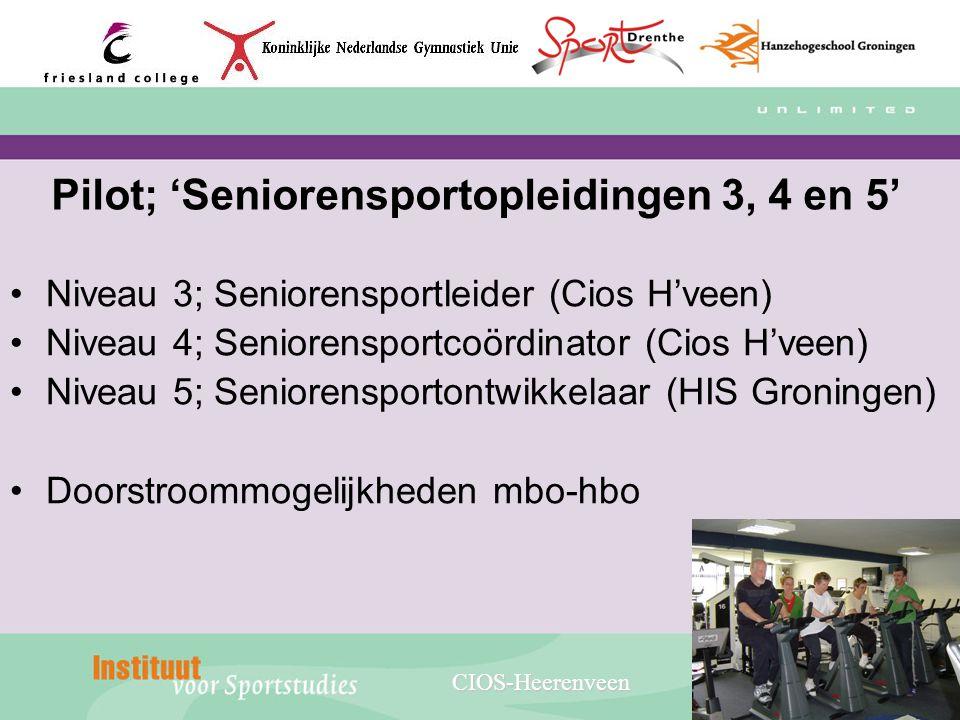 Pilot; 'Seniorensportopleidingen 3, 4 en 5' Niveau 3; Seniorensportleider (Cios H'veen) Niveau 4; Seniorensportcoördinator (Cios H'veen) Niveau 5; Sen