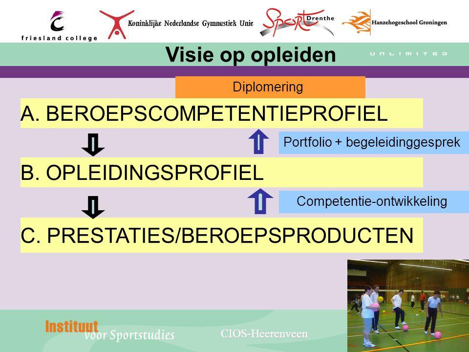 C. PRESTATIES/BEROEPSPRODUCTEN B. OPLEIDINGSPROFIEL A. BEROEPSCOMPETENTIEPROFIEL Diplomering Portfolio + begeleidinggesprek Competentie-ontwikkeling V
