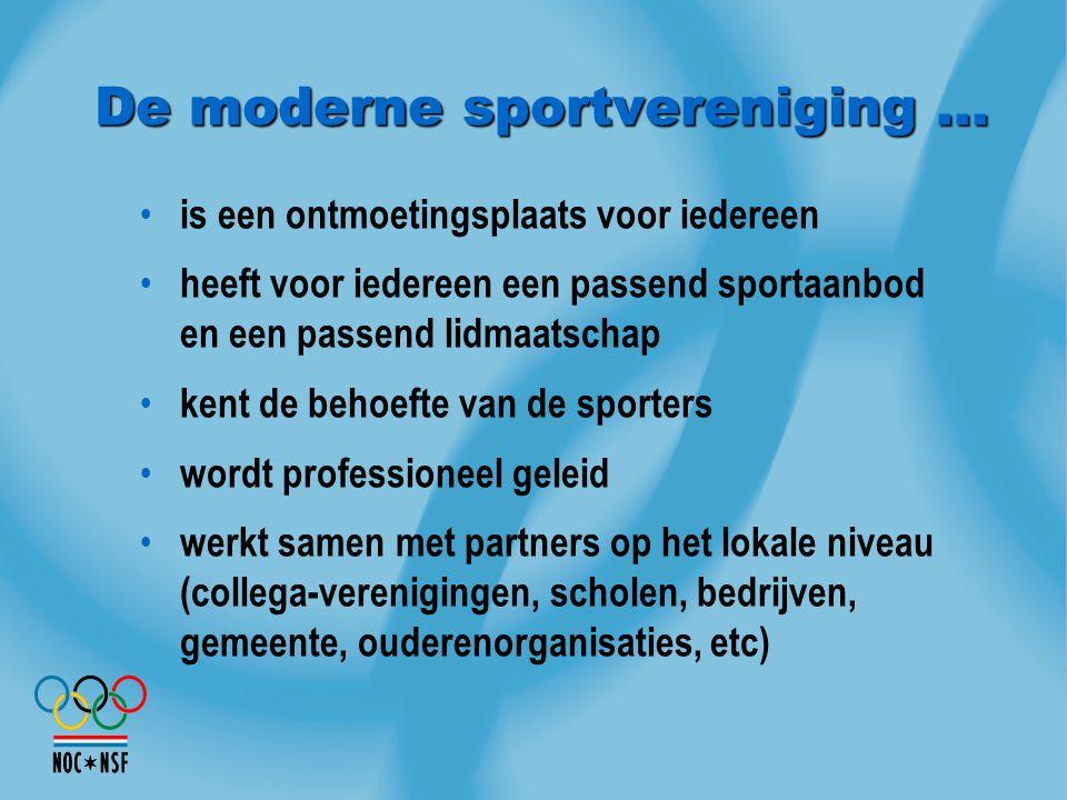 De moderne sportvereniging … is een ontmoetingsplaats voor iedereen heeft voor iedereen een passend sportaanbod en een passend lidmaatschap kent de be