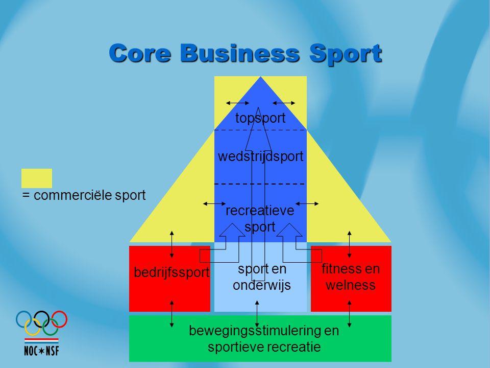 sport en onderwijs fitness en welness bedrijfssport wedstrijdsport recreatieve sport topsport = commerciële sport bewegingsstimulering en sportieve re