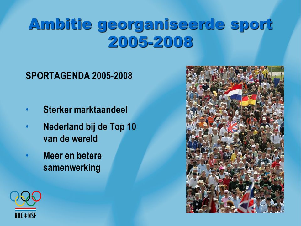 Ambitie georganiseerde sport 2005-2008 SPORTAGENDA 2005-2008 Sterker marktaandeel Nederland bij de Top 10 van de wereld Meer en betere samenwerking