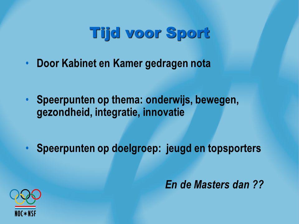 Tijd voor Sport Door Kabinet en Kamer gedragen nota Speerpunten op thema: onderwijs, bewegen, gezondheid, integratie, innovatie Speerpunten op doelgro