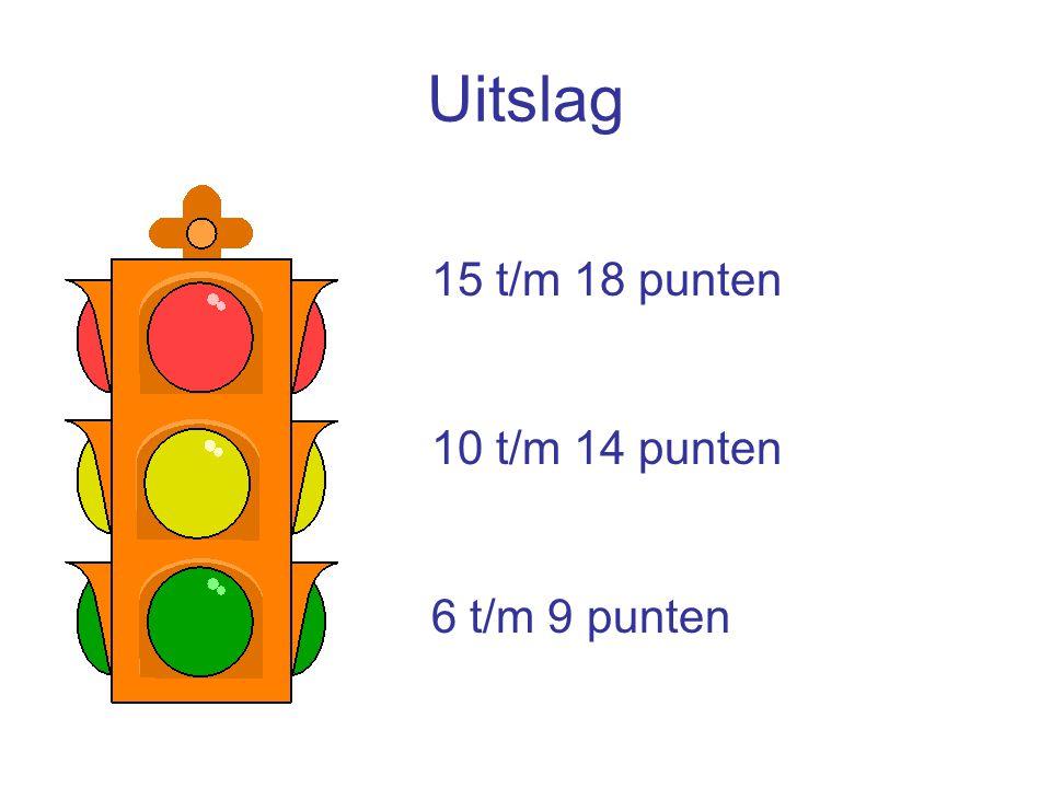Uitslag 15 t/m 18 punten 10 t/m 14 punten 6 t/m 9 punten